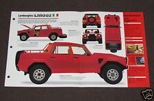 1985-1993 LAMBORGHINI LM002 (1987) CAR SPEC SHEET BROCHURE PHOTO BOOKLET