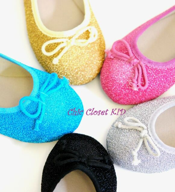Girls Glittering Kids Little Bow Low Ballet Flats Pagent Slip On Sparkling Shoes