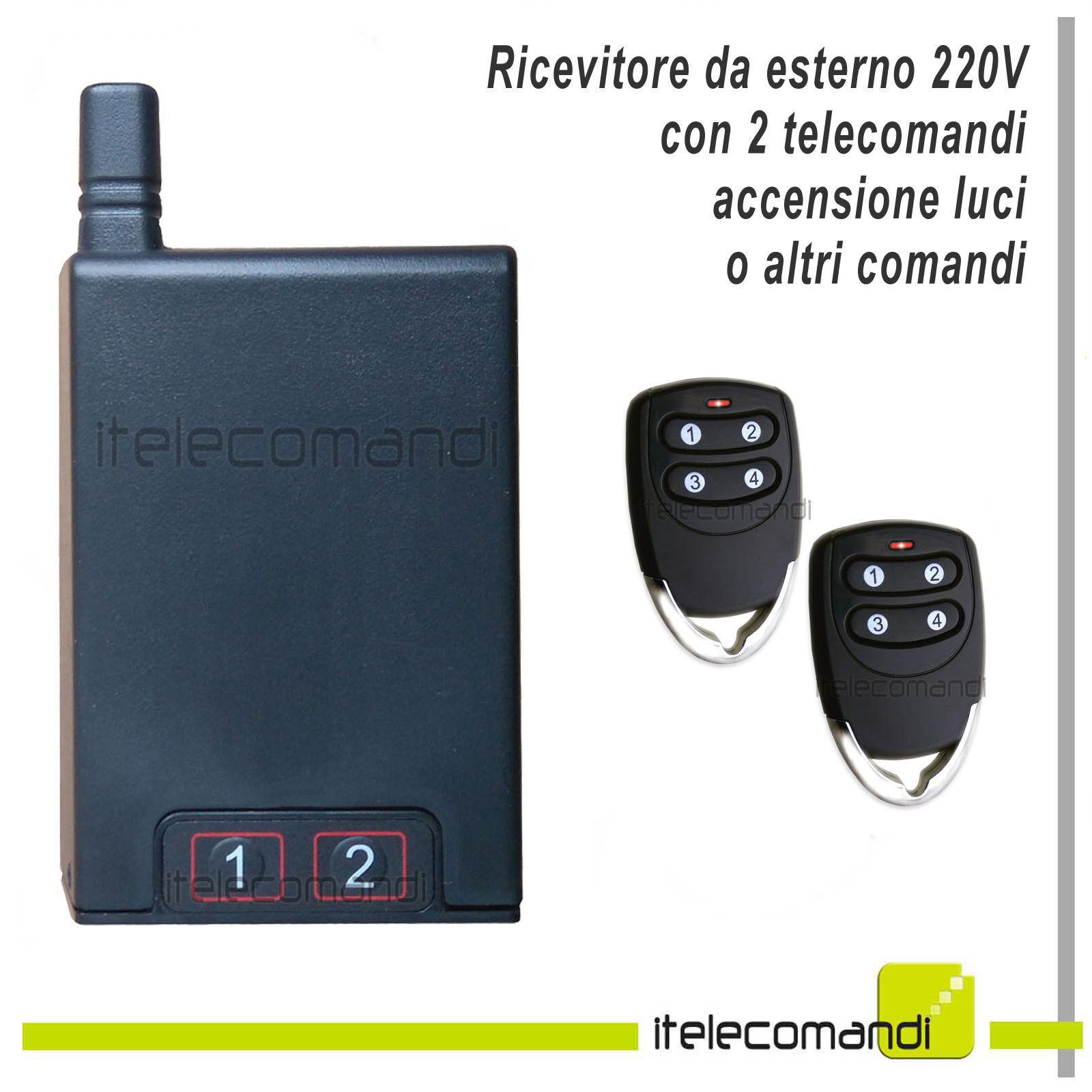Kit accendi luci con telecomando ricevitore da esterno 1000W 220V 2 telecomandi
