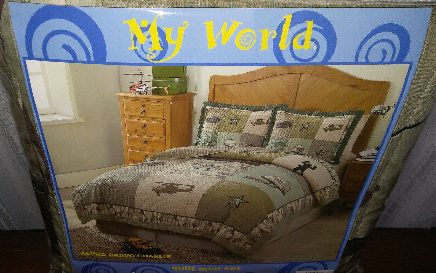 MY WORLD ALFA BRAVO CHARLIE-AIR FORCE QUILT SET-TWIN-NEW WITH TAGS