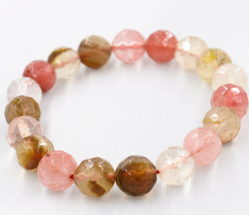 Fashion 10 mm pastèque tourmaline Faceted Round Beads Bracelet AAA