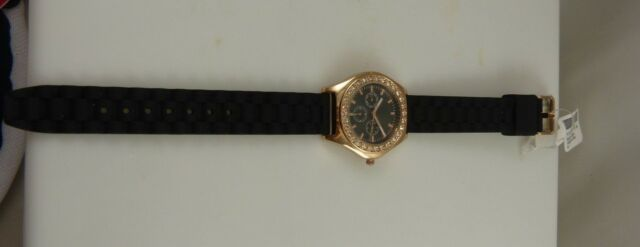 Black & rose goldtone watch rubber tire tread type band New trendy pretty crysta