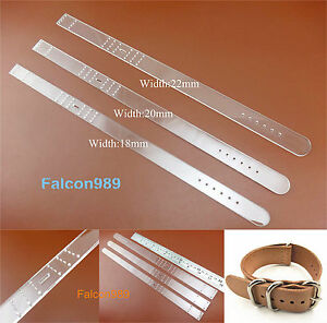 4pcs//Set 18mm Clear Acrylic Watchband Strap Stencil Template Leather Craft