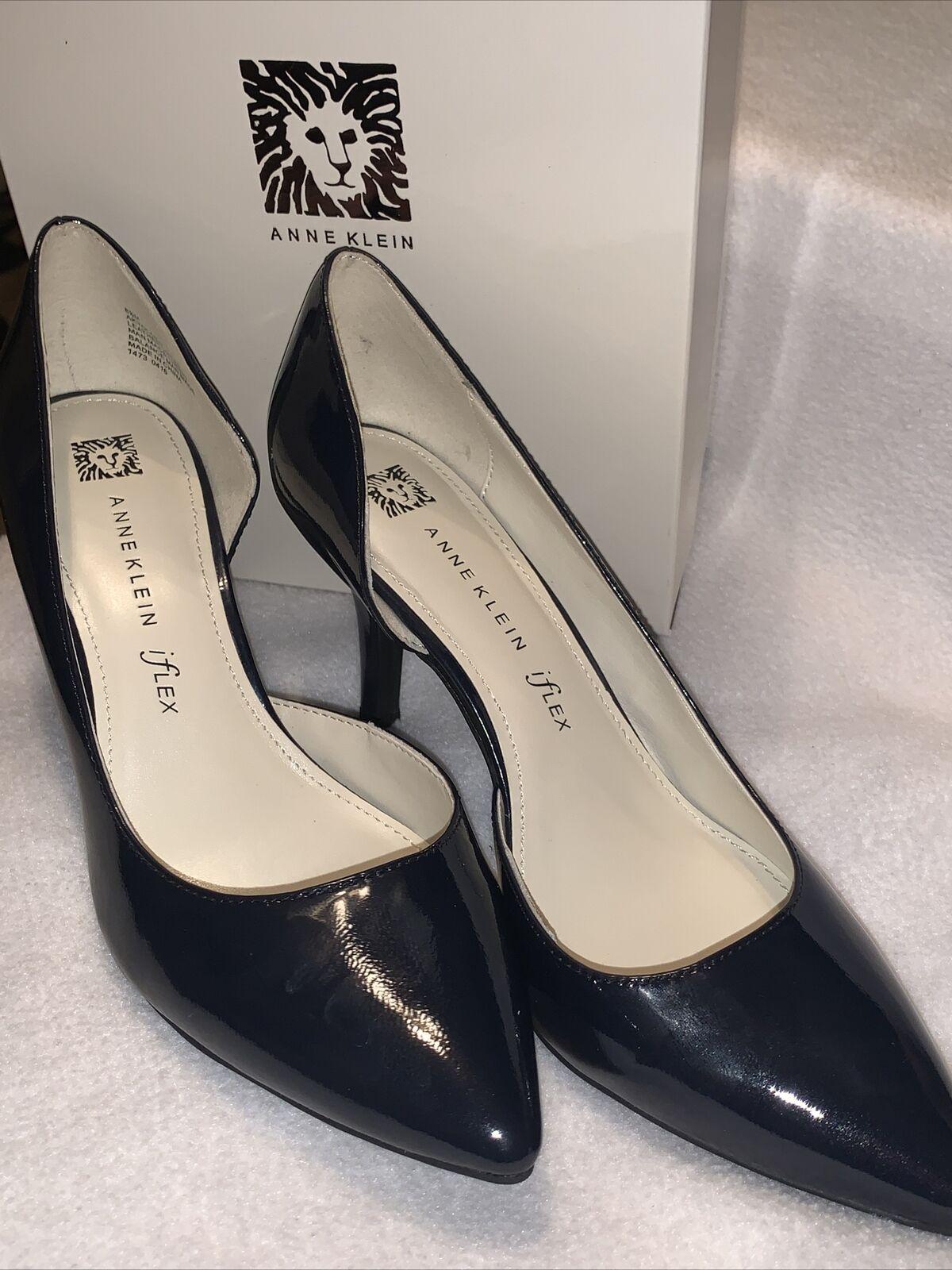 """New Women's ANNE KLEIN Heels Black Leather Closed Toe Pumps Sz 8.5 Heel 3.5"""""""