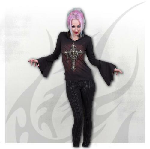 Spiral Direct DEATH BONES High Neck Goth Top//Goth//Dark Wear//Ankh//Gothic//Top
