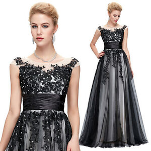 Long Applique Bridesmaid Evening Formal Party Cocktail Prom Gown Vintage Dresses
