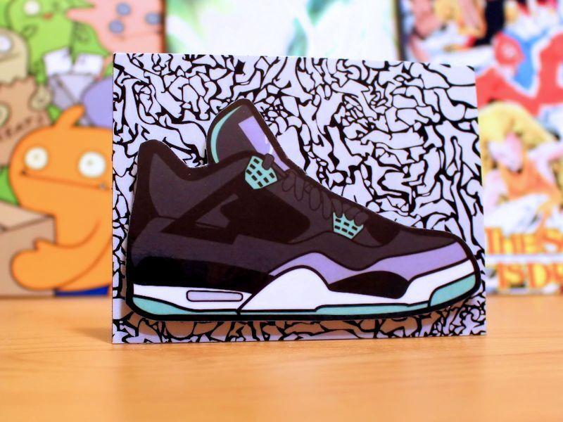 3dc483343bd2 Retro Air Jordan 4 IV IV IV Green Glow sneaker art fridge locker magnet  93ceee