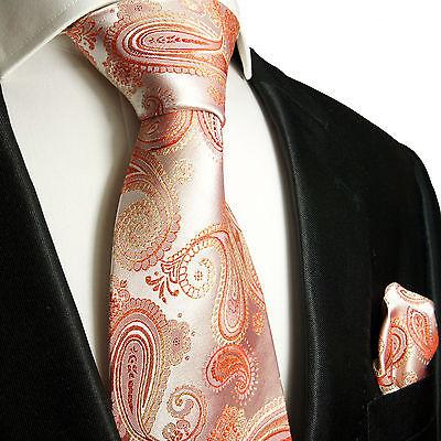 Korall paisley Krawatten Set 2tlg Seidenkrawatten 871