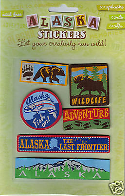 Acid Free Alaska scrapbook Stickers fishing Bear Moose adventure Mountains