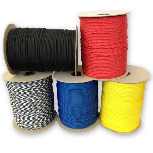 550 Paracord Type III 7 Strand Mil-Spec Parachute Cord, 250', 300', 1000' Spools