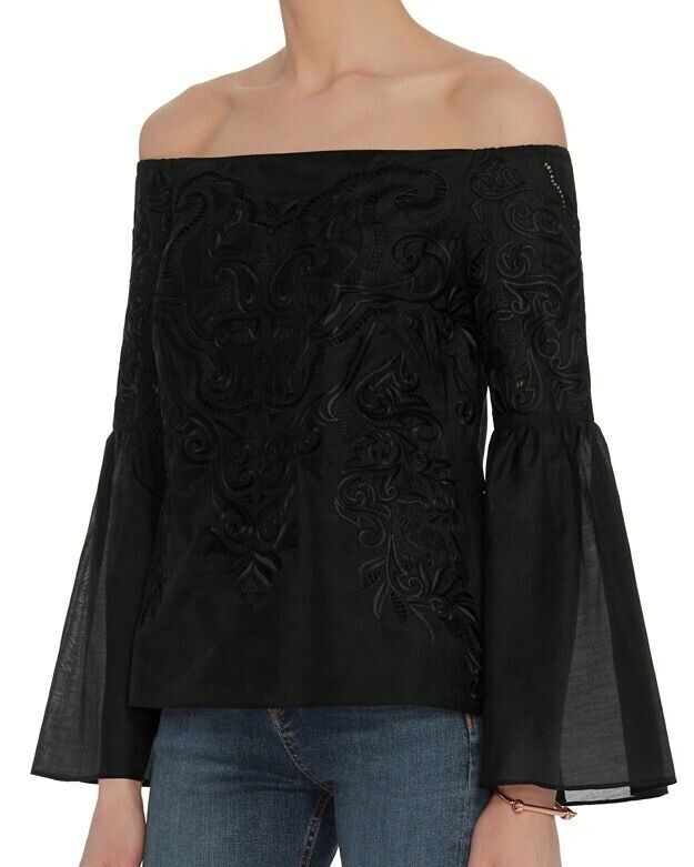 Intermix Woherren schwarz Aaron Strapless Embroiderot Top
