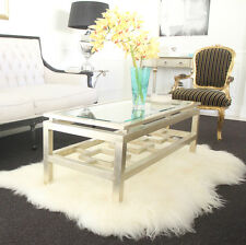 ICELANDIC WHITE SHEEPSKIN TRIPLE HIDE LONG HAIR SHAGGY WOOL THROW FLOOR RUG