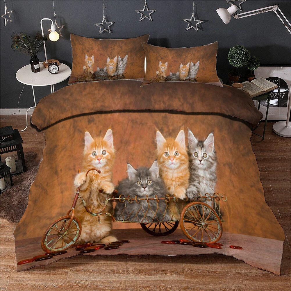 Great Cute Kittens 3D Quilt Duvet Doona Cover Set Single Double Queen King Print
