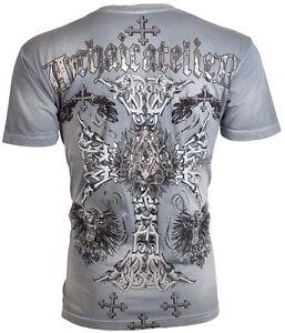 Archaic-AFFLICTION-Men-T-Shirt-ANGSTROM-Cross-Tattoo-Fight-Biker-M-XL-40-b