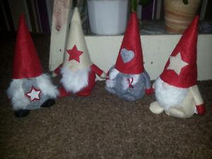 4 Susse Wichtel Shabby Weihnachtswichtel Weiss Grau Weihnachten