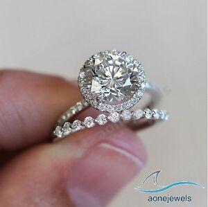 Ladies White Gold Over Round Diamond Engagement Ring Wedding Band