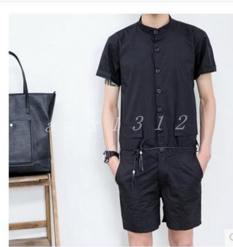 Mens Cotton Blend One Piece Short Sleeve Summer Outdoor Stylish Romper Pants SZ
