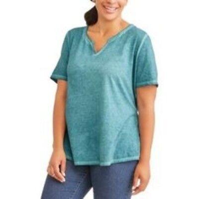 Terra /& Sky Plus 1X 2X 3X Solid Daylily Pink Generous Fit Split Neck T-Shirt NWT