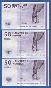 ** UNC P 65 f ** 3 Notes ** Denmark 50 Kroner 2013 ** 3 different signatures