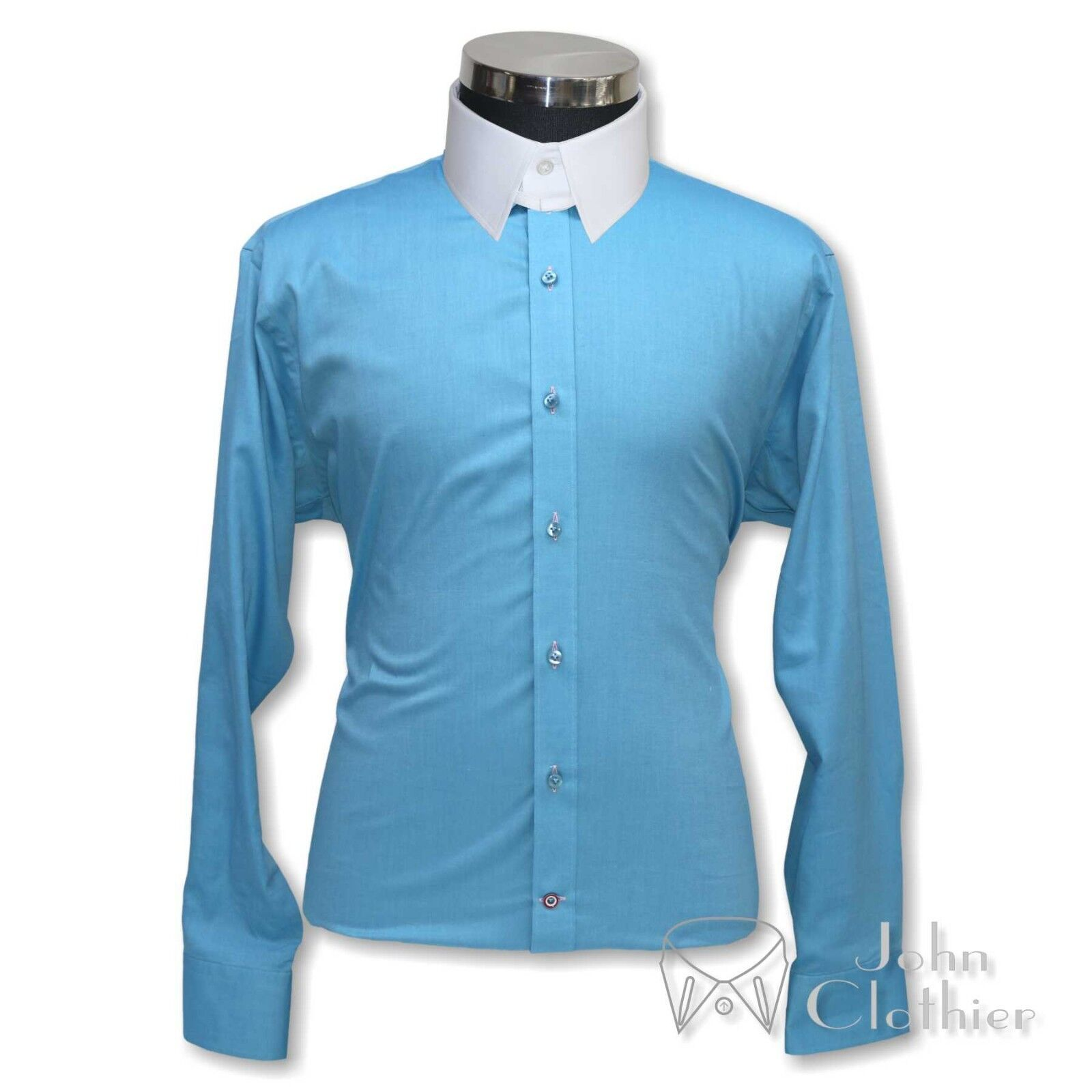 Herren Meeresblau Oxford Tab Kragen Banker Baumwolle Hemden Schlaufe James Bond