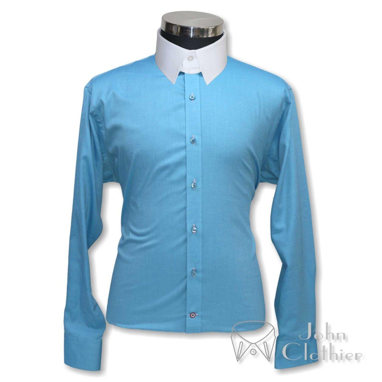Herren Sea Blau oxford Tab collar Bankers Cotton shirts Loop James Bond for Gents