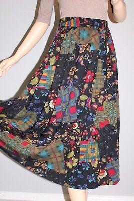 80er 80s Vtg True Vintage Donna Gonna Midi Skirt Fiorellini 42 Plus Size L Floral-