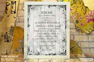 Details about Kiss Me Ed Sheeran Lyrics Print Wedding Song Personalised  Canvas Gift