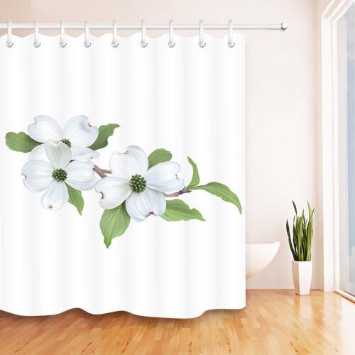 Waterproof Fabric White Gardenia Green Leaves Shower Curtain Liner Bathroom Mat