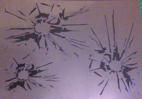 BROKEN GLASS TEXTURE PLATE Craft Template NEW T8 AIRBRUSH STENCILS SHATTERED