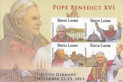 Sierra Leone 2012 MNH Pope Benedict XVI Visits Germany 3v M/S Popes Stamps