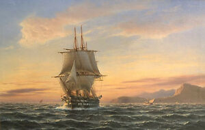 Wonderful-oil-painting-seascape-ship-big-sail-boat-on-ocean-in-sunset-24-034-x36-034