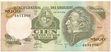 URUGUAY N$ 100.- ND(1986) P-62c XF+ CAT PR $ 1 SERIE E PRINTER THOMAS DE LA RUE