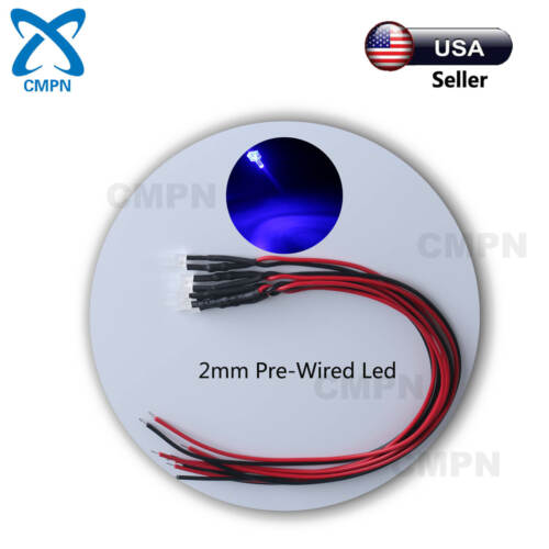 10Pcs 2mm Flat Top Blue Pre-Wired Diffused Wide Angle Light DC 9-12v LED Diodes