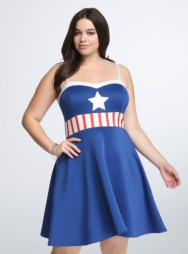 Torrid Her Universe Captain America Plus Größe Dress Marvel Comics Cosplay RARE