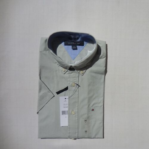 TOMMY HILFIGER MEN PLAID solid SHIRT short sleeve SZ M L XL XXL NWT 100/% cotton