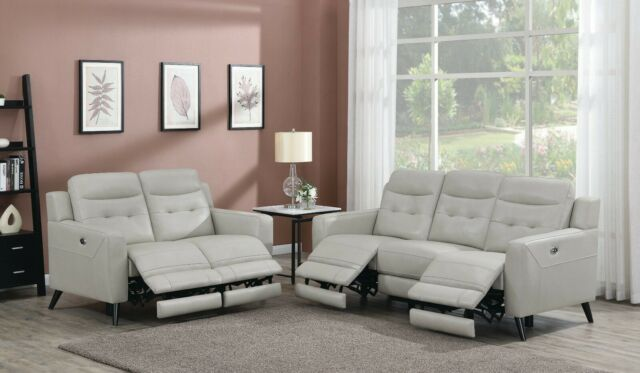 TOP GRAIN CREAMY LIGHT GREY LEATHER POWER RECLINING SOFA LOVESEAT FURNITURE  SET