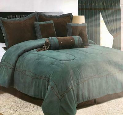 FAST SHIPPING! Embroidery Texas Barbwire Western Star Suede comforter 7Pc set