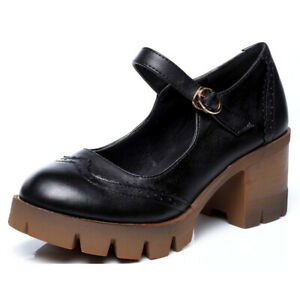 Womens-Brogues-Leather-Oxfords-Shoes-One-Strap-Buckle-High-Chunky-Heels-Pumps-US