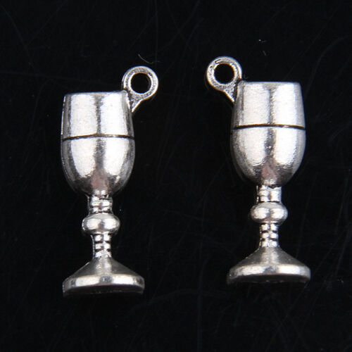 60pcs Tibetan Silver Wine Glass Charms For Jewelry Making 19*6mm