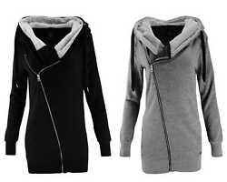 ONLY Damen Sweatjacke Jacke onlVEGA L/S ZIP HOOD Long Hoodie Kapuze grau schwarz