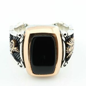 811cec060e4b Unique 925 Sterling Silver Black ONYX Stone Ottoman Men's Ring -US ...
