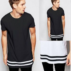 Men-039-s-Hem-Striper-Cotton-T-Shirts-Longline-Male-Extended-Top-High-Quality-Casual