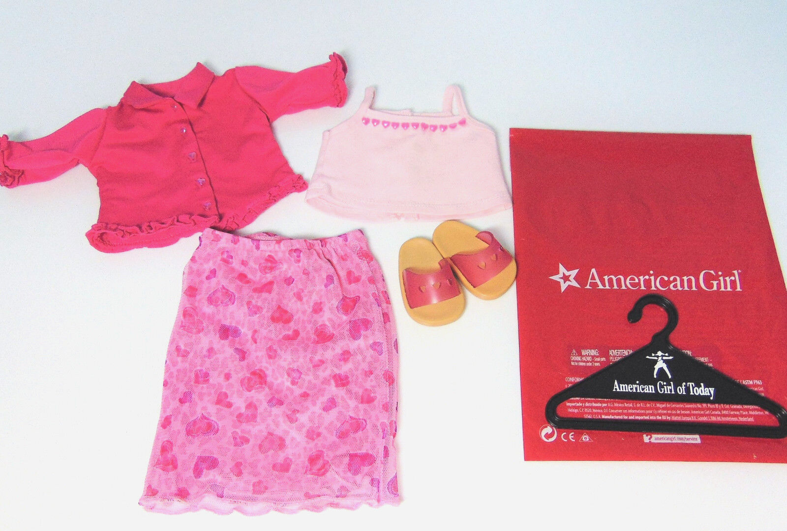 American Girl Puppe Kleidung Valentinstag Party Outfit Outfit Outfit Rosa Herzen Top Minirock 298e7f