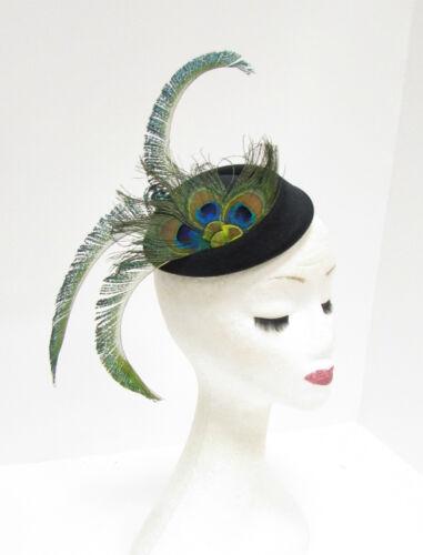 Noir vert bleu plume de paon casemate chapeau serre-tête cheveux fascinator vtg 2266