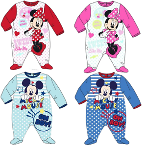 Disney Minnie Mickey Mouse Baby Schlafanzug Strampler Einteiler 100/% Baumwolle