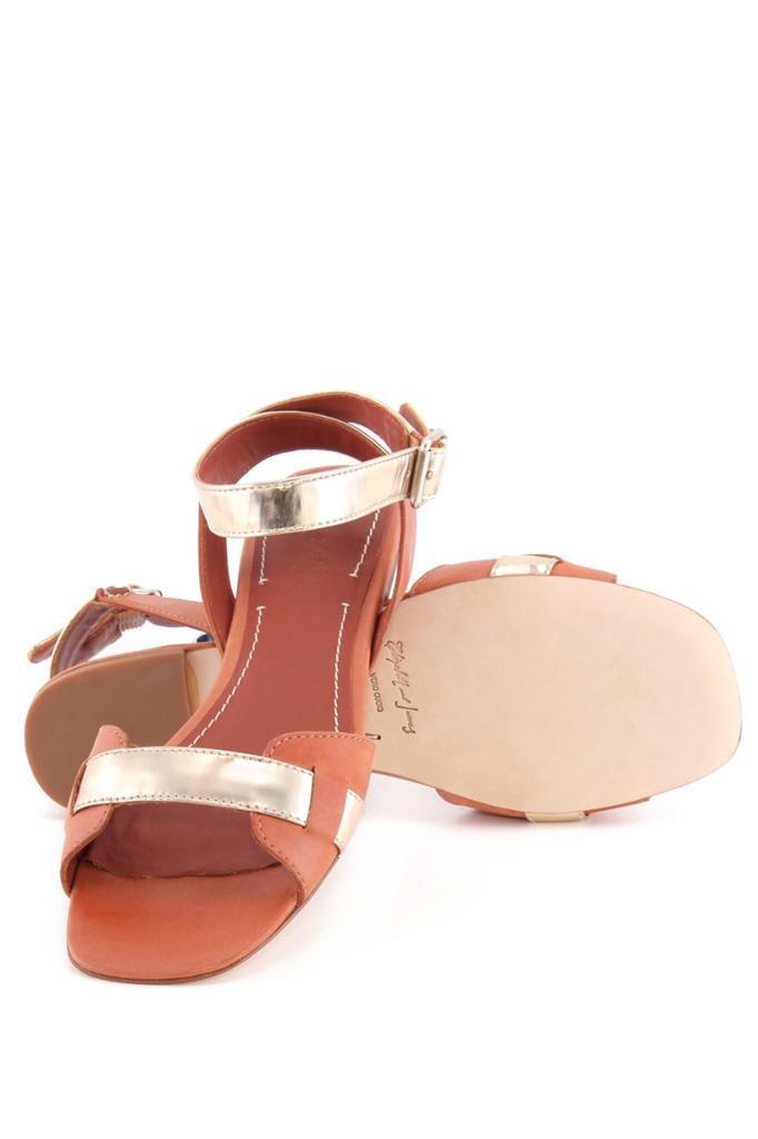 Elizabeth and James Paige Sandal Cognac gold Multi Crisscross strappy Sandal NEW
