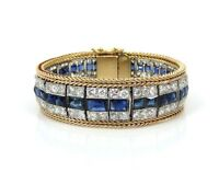 Antique 8ct Old Mine Diamond 10ct French Cut Sapphire Platinum & 14K Bracelet