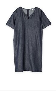 CR-LOVE-Size-XS-8-NEW-TRENERY-BY-COUNTRY-ROAD-WOVEN-INDIGO-DRESS