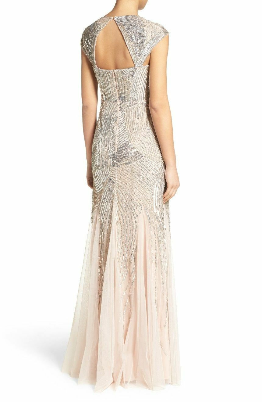 NWOT  shell    Adrianna Papell Embellished Mesh Gown size 10 a19ffc