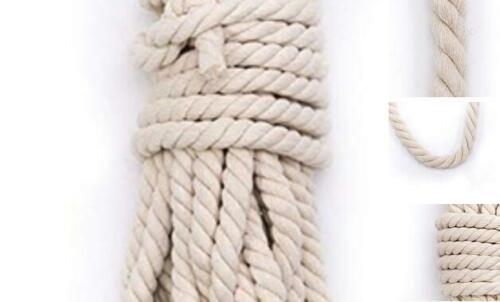 """Tosnail 50 Feet 5//8/"""" Natural Triple-Strand Twisted Cotton Rope"""